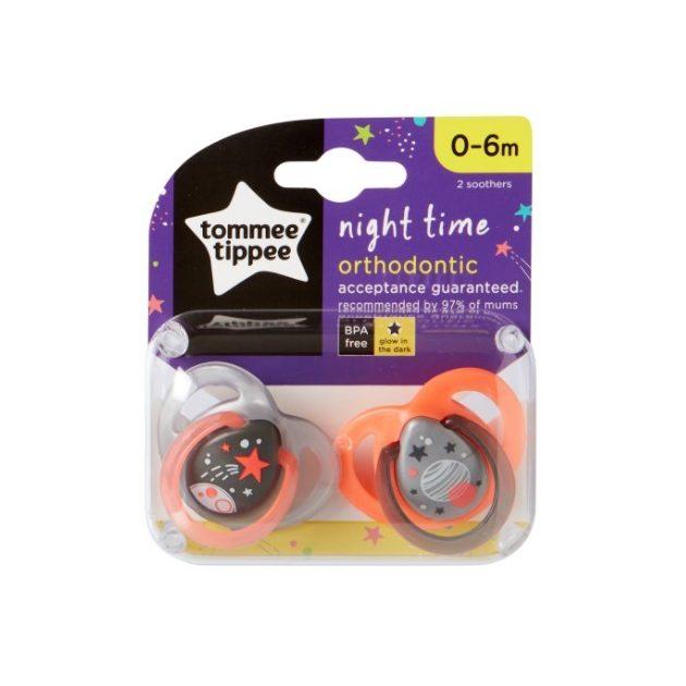 Tommee Tippee Közelebb a természeteshez Night játszócumi 0-6hó 2 db