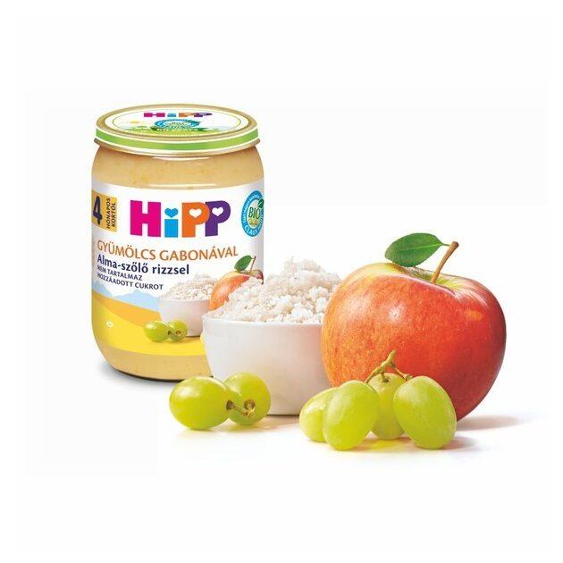 Hipp Teljesértékű gabona gyümölcsökkel Alma-szőlő rizzsel 4 hó 190 g