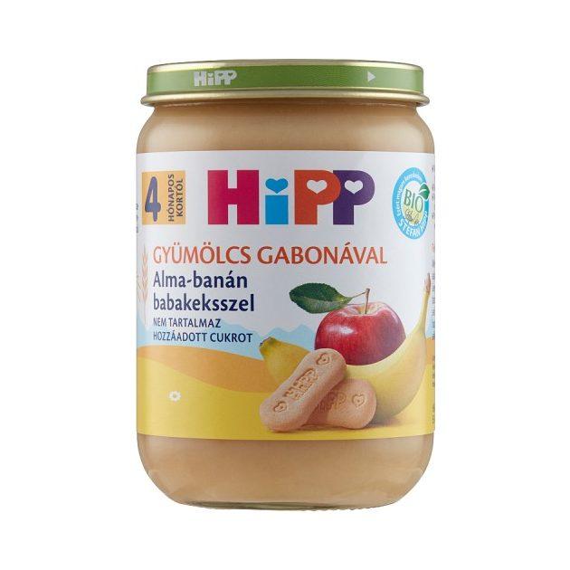 Hipp Teljesértékű gabona gyümölcsökkel Alma-banán babakeksszel  4 hó 190 g