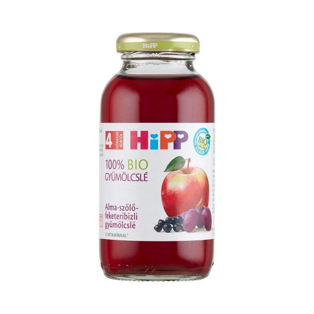 Hipp Gyümölcslevek Alma-szőlő-feketeribizli gyümölcslé  4 hó 200 ml