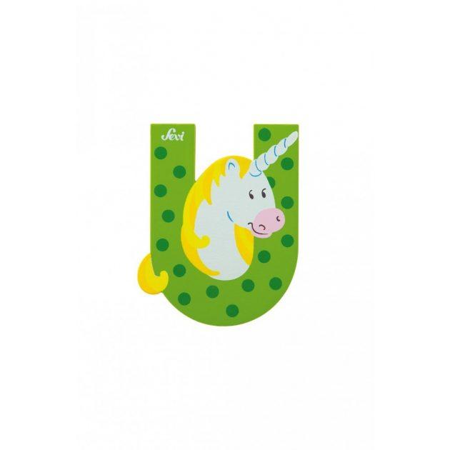 Sevi fa betűk - U - Unikornis zöld