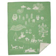 Klippan vékony biopamut takaró 70x90cm erdei állatos zöld