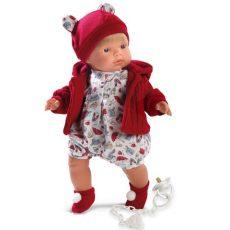 Llorens Sasha síró fiú baba piros sapkában 38 cm