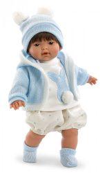 Llorens Kisfiú baba kötött nyuszis ruhában 33cm