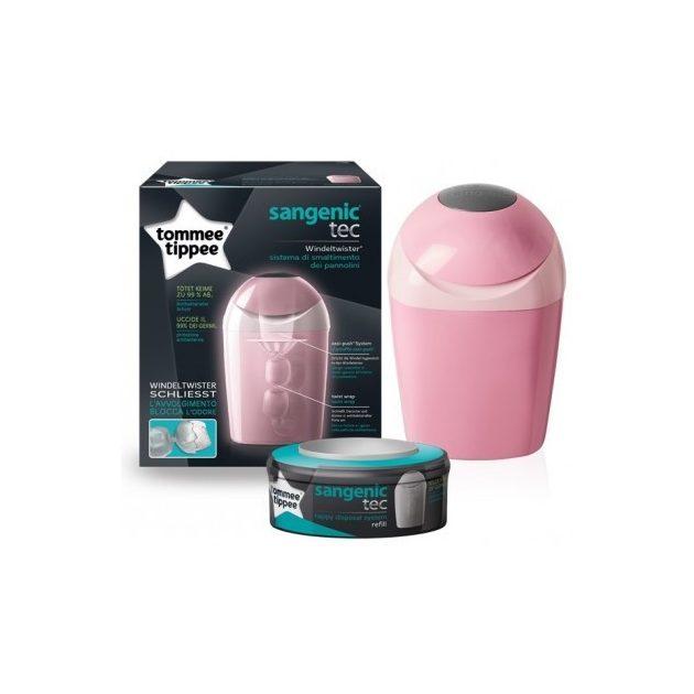 Tommee Tippee elektromos mellszívó + ajándék Sangenic TEC pelenkacsomagoló vödör - rózsaszín