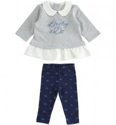 iDO kék/szürke kislányos kétrészes garnitúra 12