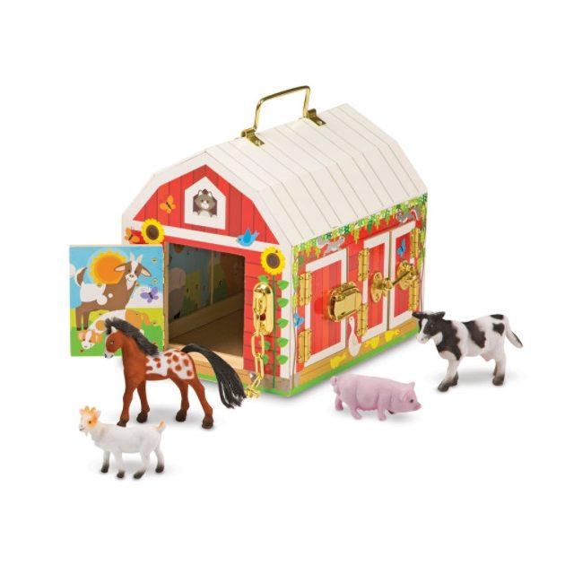Melissa & Doug fa készségfejlesztő játék, istálló zárakkal és állat figurákkal