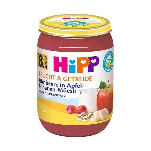 Hipp Alma-banán-málna müzlis joghurttal