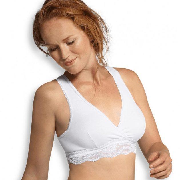 Carriwell Csipkés szoptatós melltartó organikus fehér XL