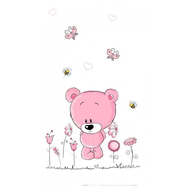 Best4Baby Pink maci virágokkal, fehér fényáteresztő, muszlin babafüggöny