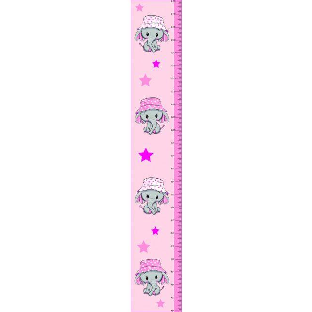 Best4Baby Pink, elefántos magasságmérős falmatrica - fehér