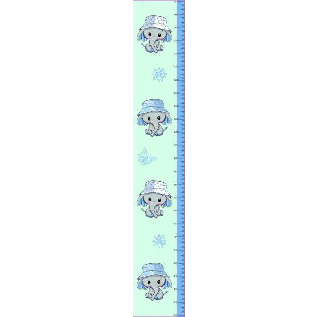 Best4Baby Kék, elefántos magasságmérős falmatrica - fehér