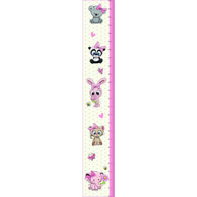 Best4Baby Lány állatos magasságmérős falmatrica - fehér