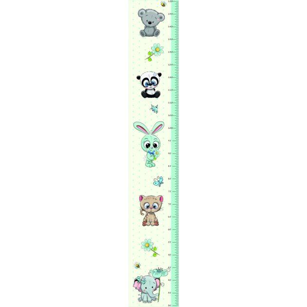 Best4Baby Fiú állatos magasságmérős falmatrica - fehér