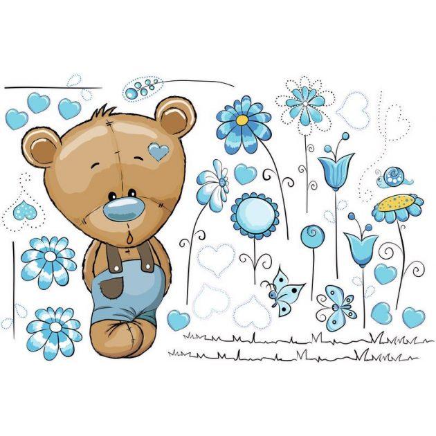 Best4Baby Maci fiú kék virágos falmatrica - fehér