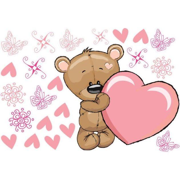 Best4Baby Maci szívvel falmatrica - fehér