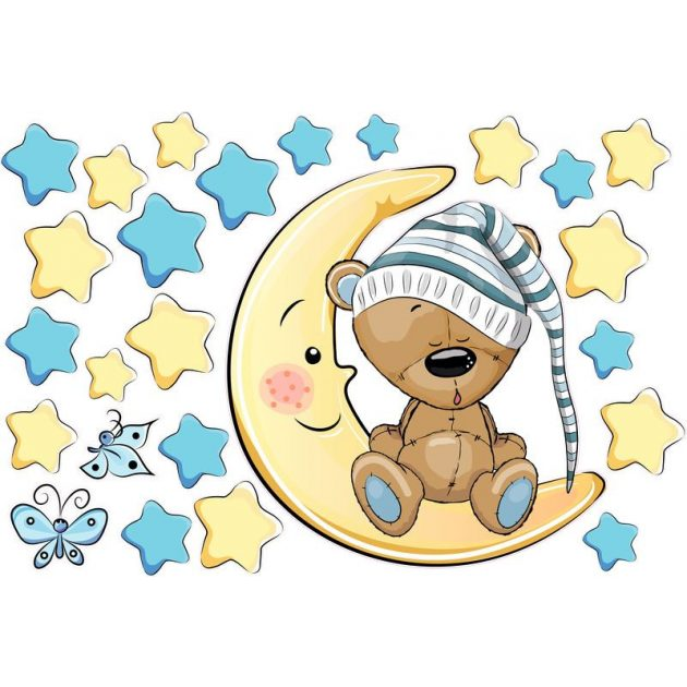 Best4Baby Maci kisfiú a Holdon ül, csillagos falmatrica - fehér