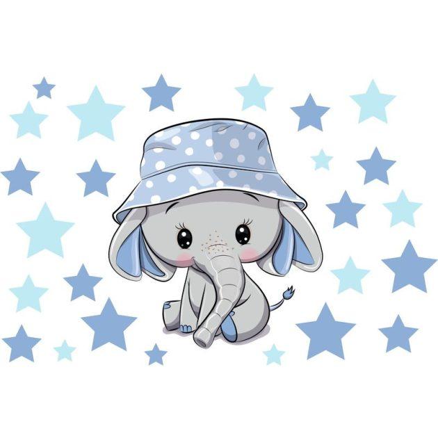 Best4Baby Elefánt fiú csillagokkal falmatrica - fehér