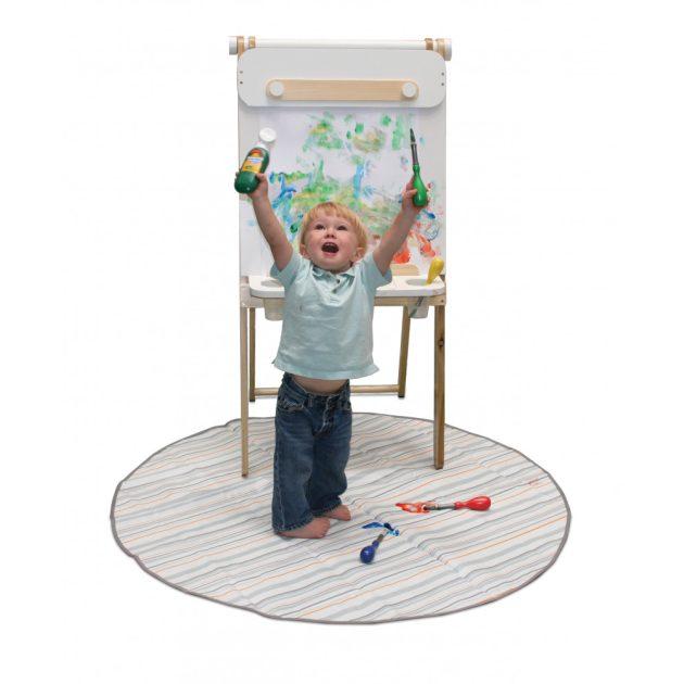 Prince Lionheart catchALL padlóvédő szőnyeg etetőszék alá, kerek - Chevron szürke/fehér