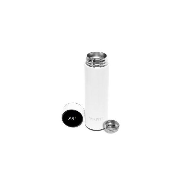 Wapiti hőmérős, digitális kijelzős termosz fehér
