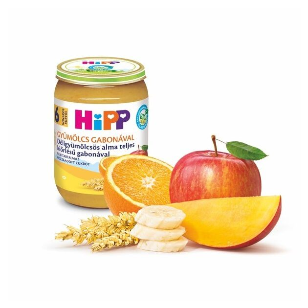 Hipp Teljesértékű gabona gyümölcsökkel Déligyümölcsös alma teljes kiőrlésű gabonával 6 hó 190 g