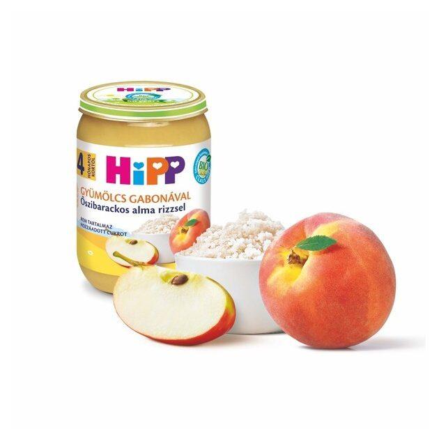 Hipp Teljesértékű gabona gyümölcsökkel Őszibarackos alma rizzsel 4 hó 190 g